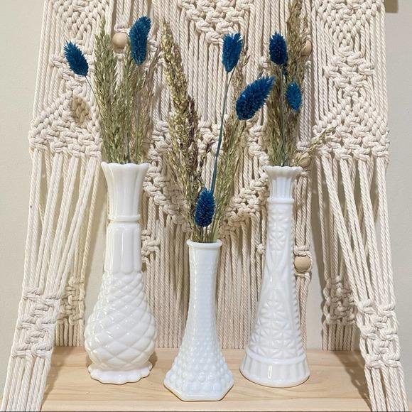 Vintage Set of 3 Milk Glass Bud Flower Vases